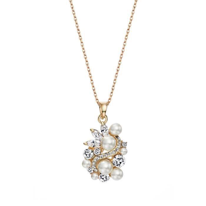 Cristal Swarovski et perles en forme de fleur Collier Bijoux Pendentif Femme PourOPWLY