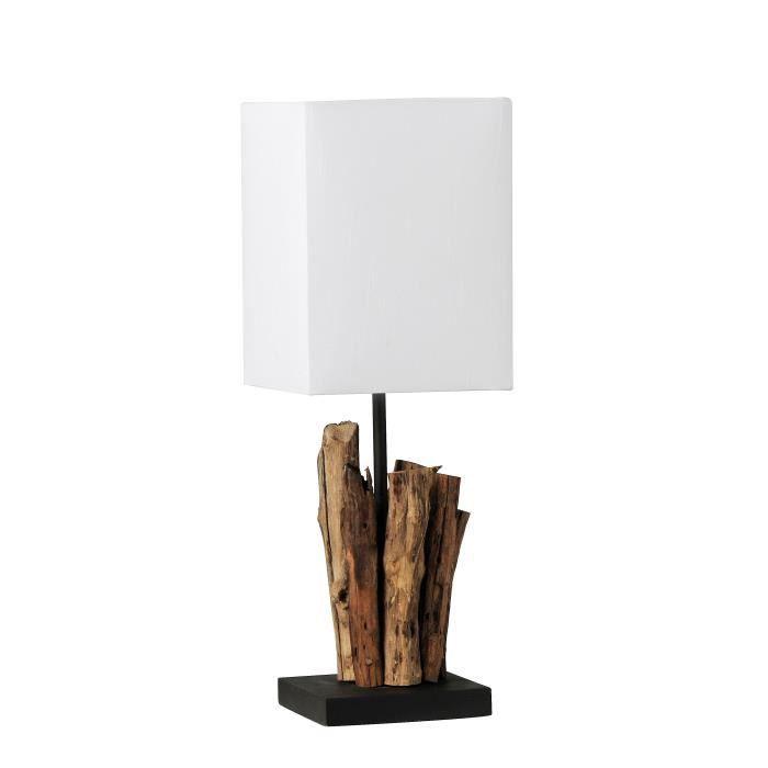LAMPE A POSER Lampe Poser En Bois Flotte Et Abat Jour Blanc