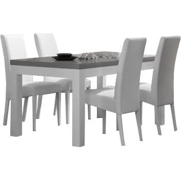 Table manger blanche et grise 160 cm 4 chaises for Table a manger blanche