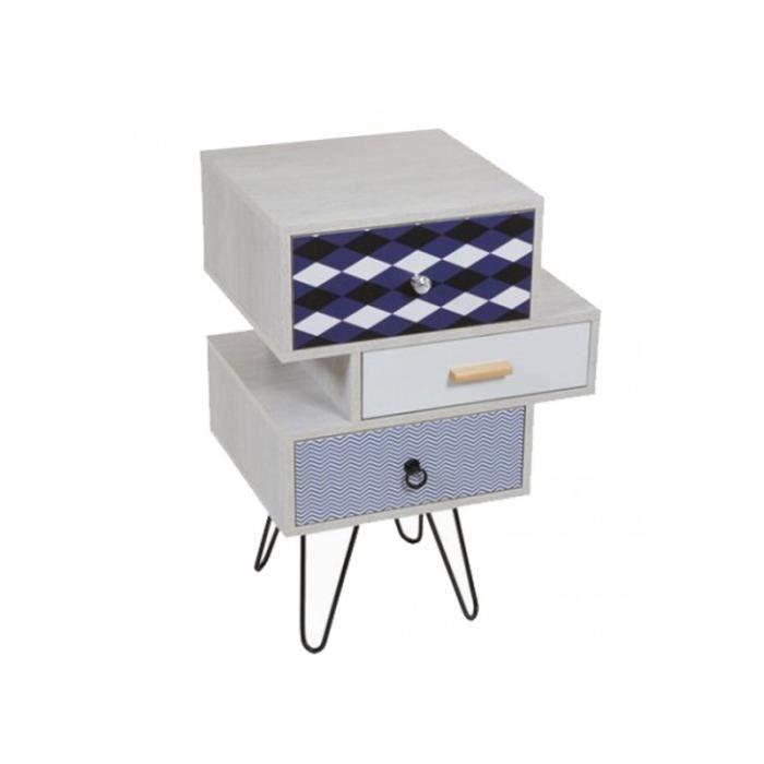 petit meuble original tiroirs d cal s vintage en mdf et fer motifs bleus achat vente petit. Black Bedroom Furniture Sets. Home Design Ideas