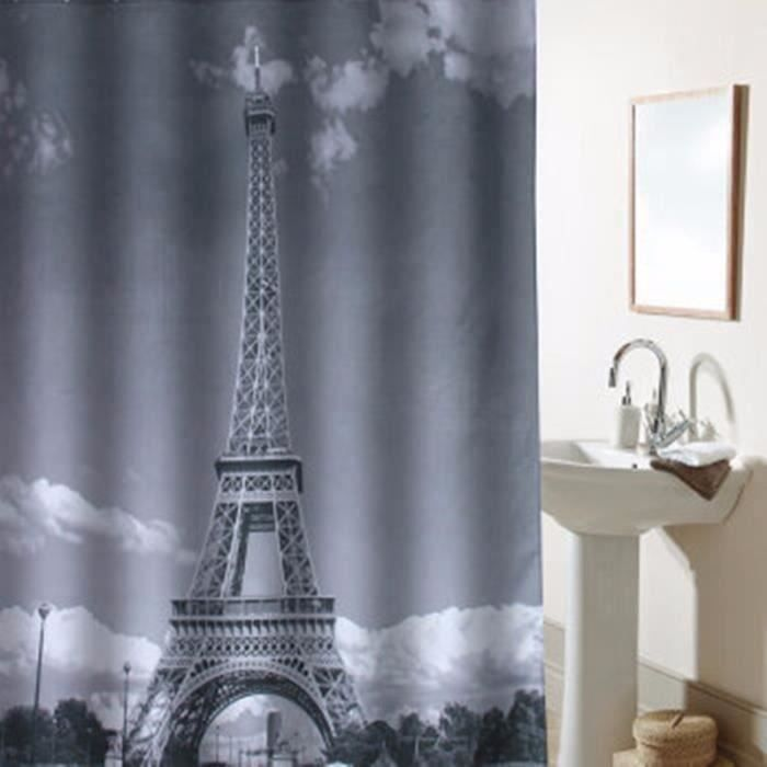 1 8x1 8m Rideau Tour Eiffel Gris Salle Bain Etanche Epaissir 12 C Crochet Blanc