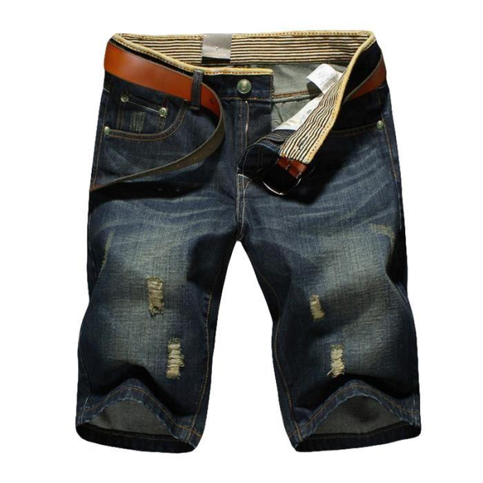 Short Homme Mode Pantalon court shorts jeans homme Denim avec Détails  D Usure E1007 82b5f14941f