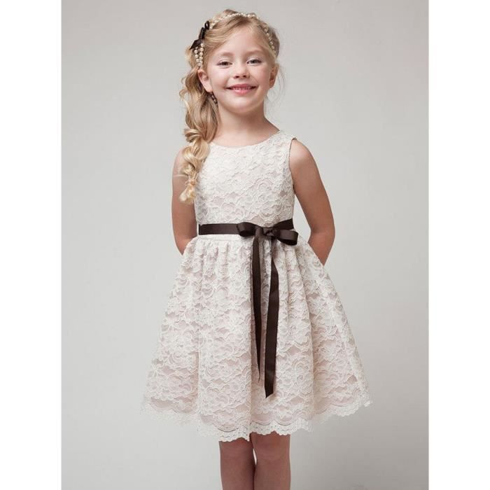 dentelle robe de fille patchwork fleur mignonne robe sans manches princesse de broderie
