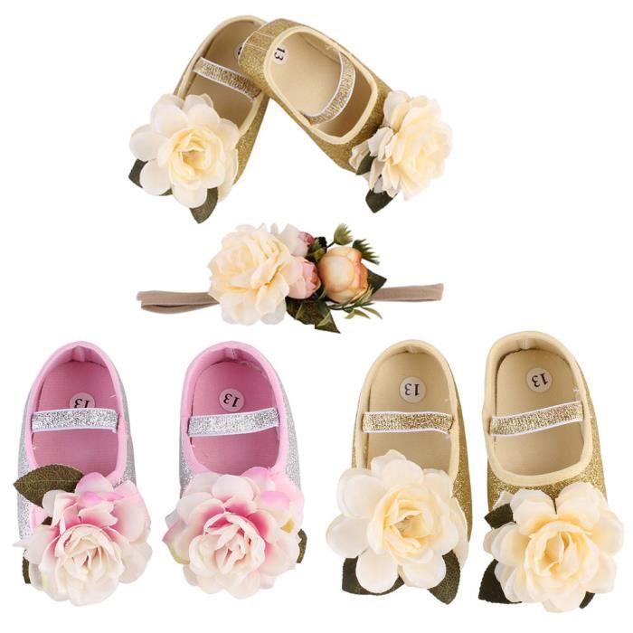 Lavieni ®Bébé Fille Fleur Chaussures Sneaker Anti-dérapant Main Doux Toddler Chaussures + 1 pc Hairband YXP71215648 CBonQidLNY