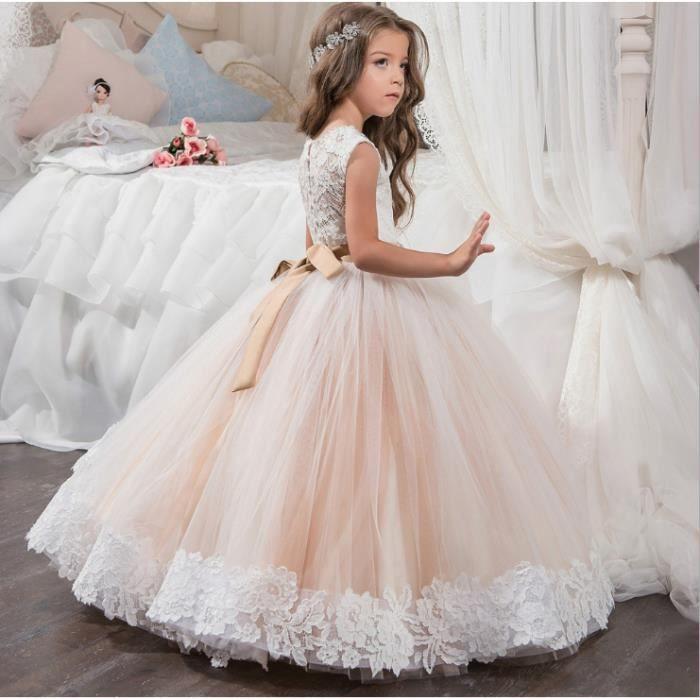 bb4f0f410e40e Robe de Soirée Fille Robe de Cérémonie Princesse en Dentelle Florale ...