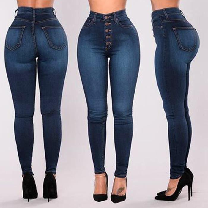 fc44585dc328 huadedu Femmes taille haute Skinny Jeans stretch Pantalons Jeans Slim veau  Longueur Bleu