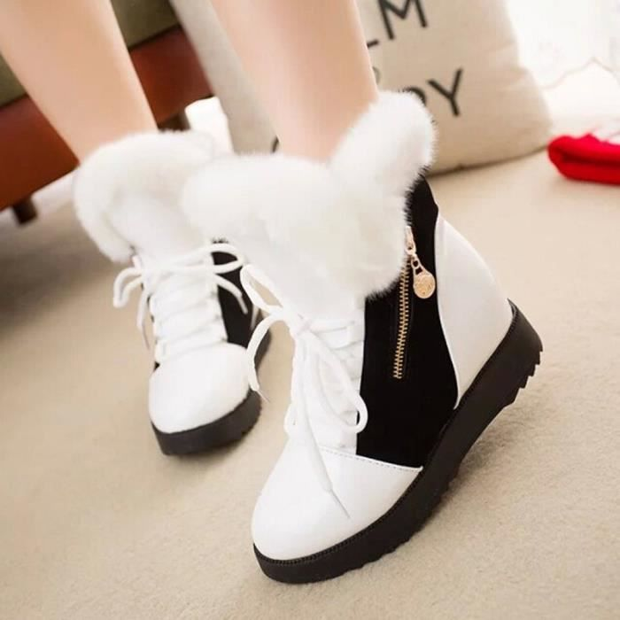 Doux Bout Chaussures D'hiver blanc Femme Bottines gg Chaussures Plat Fourrure Bottes De Rond Neige ZfH6qHWnF