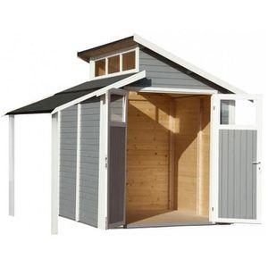 ABRI JARDIN - CHALET Baltic - Abri de jardin en bois peint gris 4,08 m2