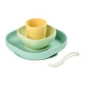 ENSEMBLE REPAS BEABA Set vaisselle silicone ventouse  4 pièces -