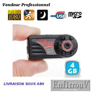 CAMÉRA MINIATURE Mini caméra espion +4Go Vision nocturne détection