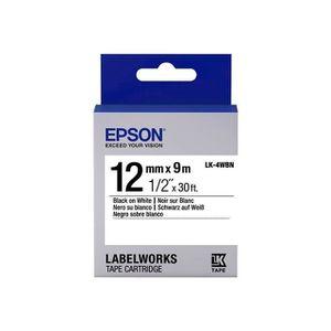 RUBAN - ENCREUR EPSON  bande d'étiquettesLK-4WBN - Noir - capacité