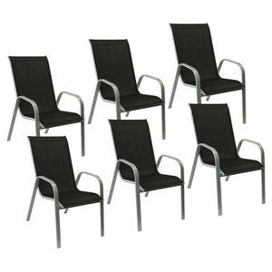 FAUTEUIL JARDIN  Lot de 6 chaises MARBELLA en textilène noir/struct