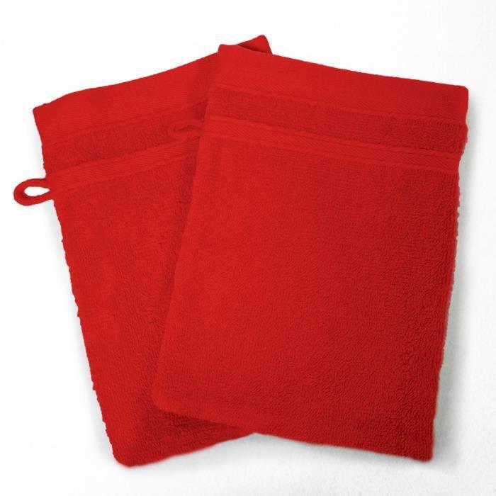 DOUCEUR D'INTERIEUR Lot de 2 gants de toilette 100% coton Vitamine 15x21 cm rouge