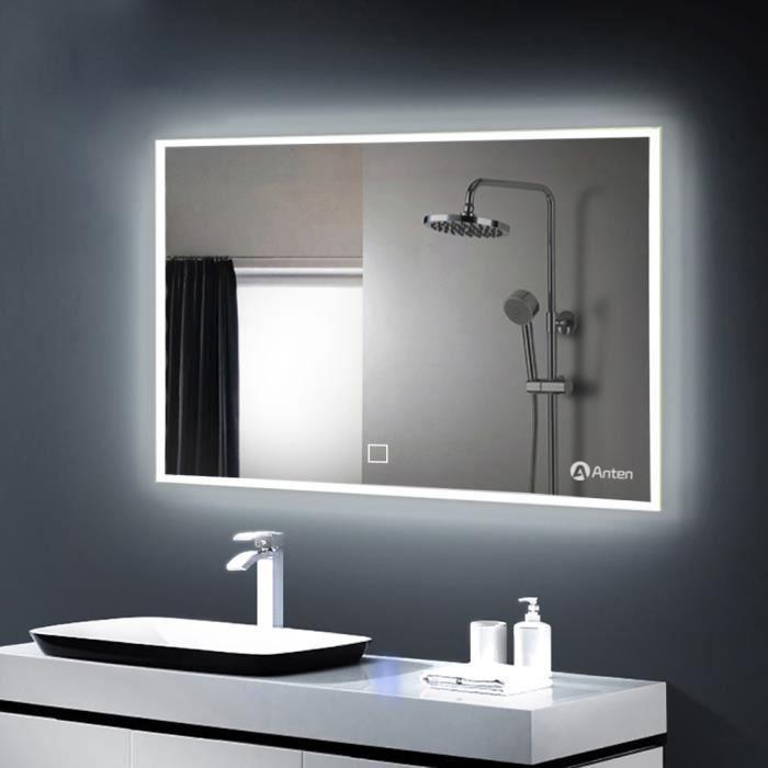 eclairage led miroir salle de bain Anten-19W Miroir LED 800*600MM Lampe de Miroir Éclairage Salle de Bain  Miroir Lumineux Solide de Verre Trempé Blanc Froid