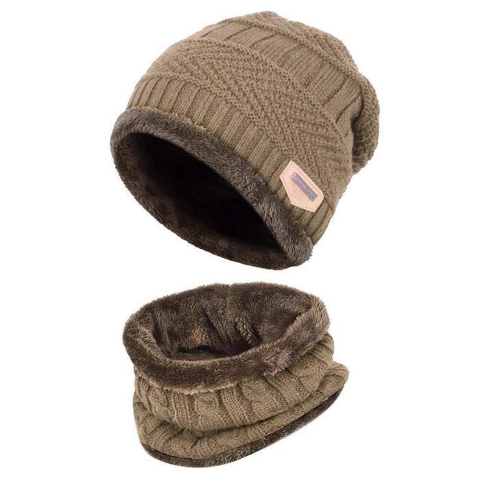 Bonnet d hiver 2 pièces écharpe ensemble chaud bonnet en tricot épais  doublé polaire bonnet d hiver et écharpe pour hommes Beige aea3d85d439