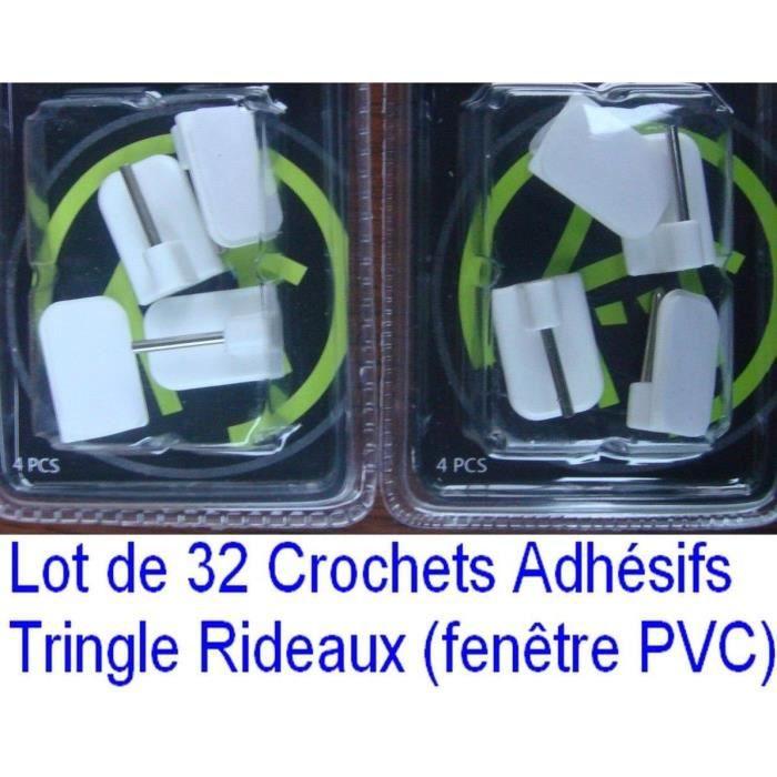 32 Crochets Adhésif Support Tringle Rideau Fenêtre Pvc Plastique