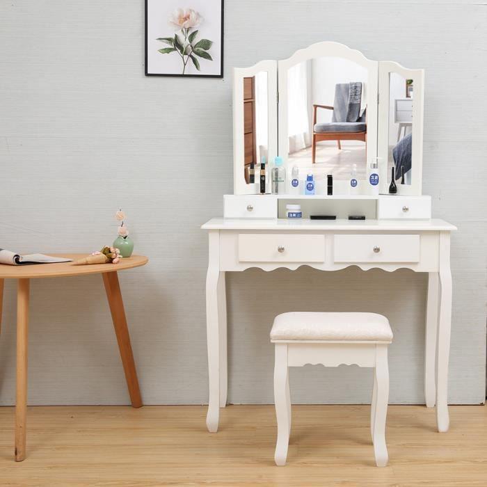 Coiffeuse Meuble Maquillage Avec 3 Miroirs 4 Tiroirs Tabouret Rembourre Pour Chambre Ou Dressing Blanc