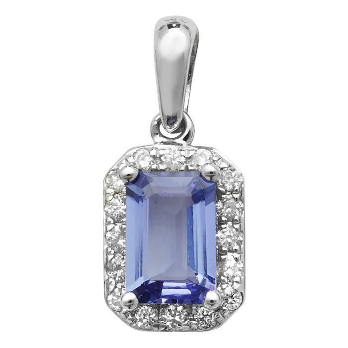Pendentif Femme Or Blanc 375-1000 et Diamant Brillant 0.10 Carat HI - I1 avec Tanzanite - 15mm*7mm