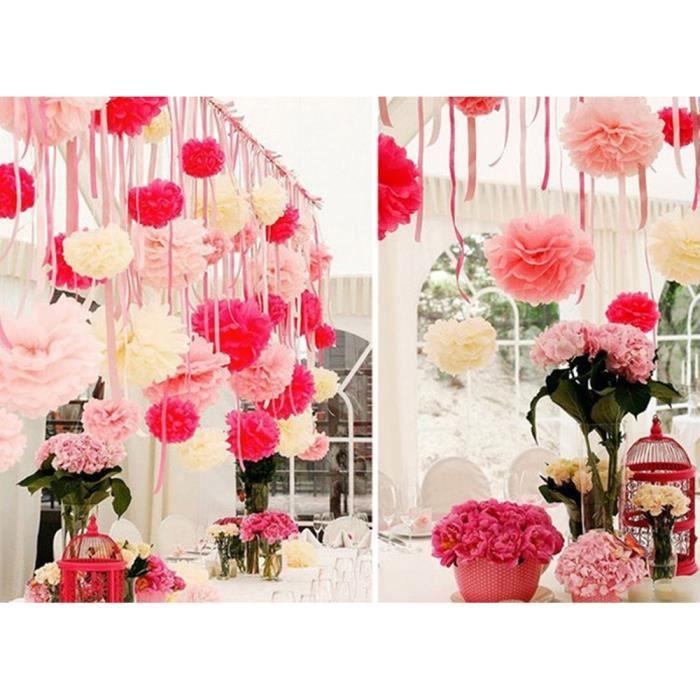 Fleurs Artificielles En Papier Rose 12 Pouces Deco Mariage Achat