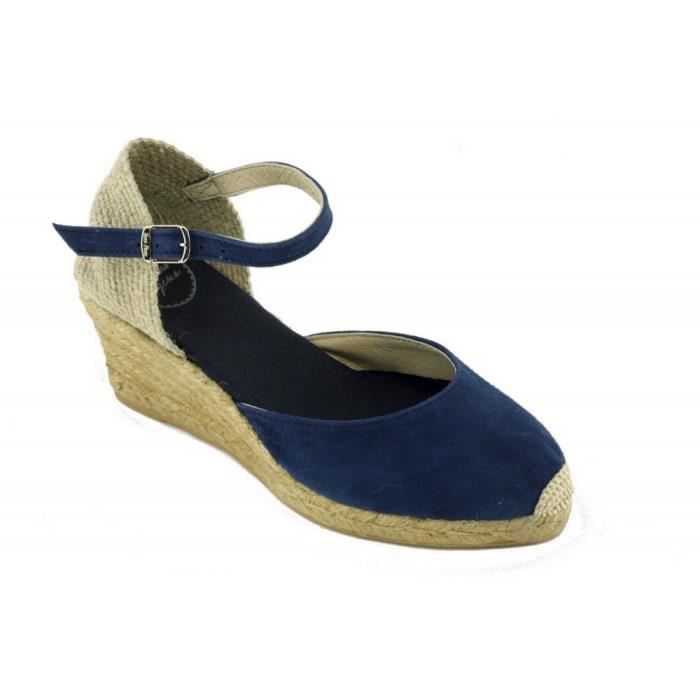Lloret – Espadrille compensée bride cheville tendance marque Toni PONS chaussures Femme petite pointure tailles cuir bleu jeans