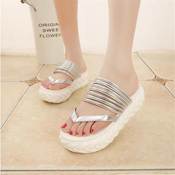 sandales femme tongs marque De Luxe Confortable chaussure de plage femmes Grande Taille randonnée d'été sandales rétro Zxs73u1