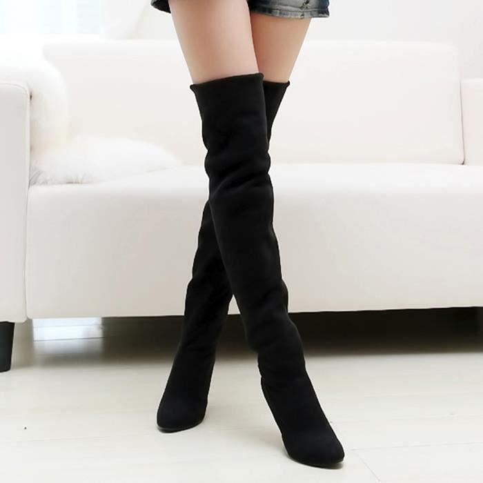 Sidneyki®Point Toe femmes à talons hauts bottes automne hiver femmes montées chaussures simples Noir WE580