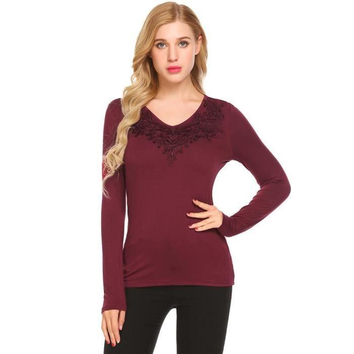 Shirt Longues Slim noir À Manches Dentelle Femmes En Vin Rouge Fit Col T Casual purple V 0dz6d