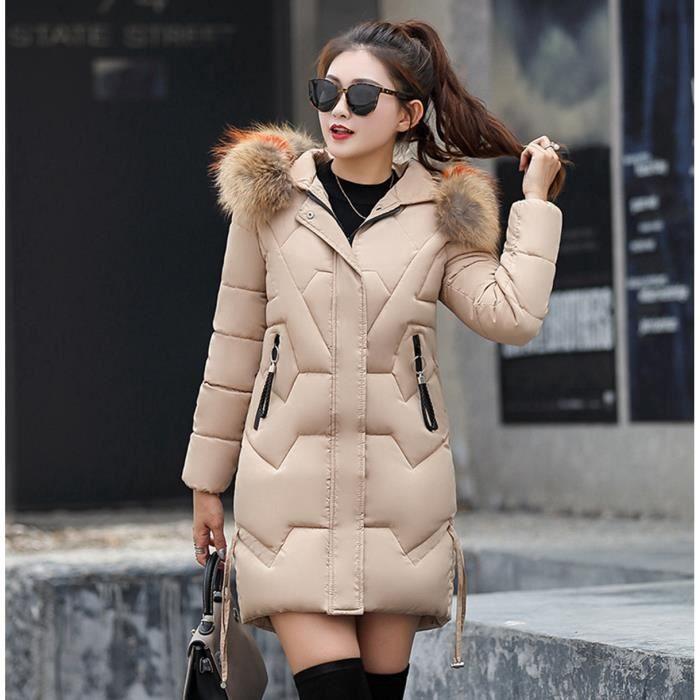 Doudoune longue femme avec capuche fourrure 2018 2019 Manteau Hiver Veste  Jacket 4991d977f5f