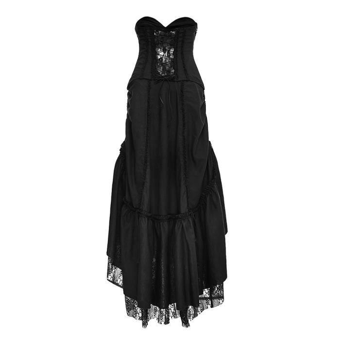 Longue robe e bustier avec jupon dentelle modulable gothique Punk Rave