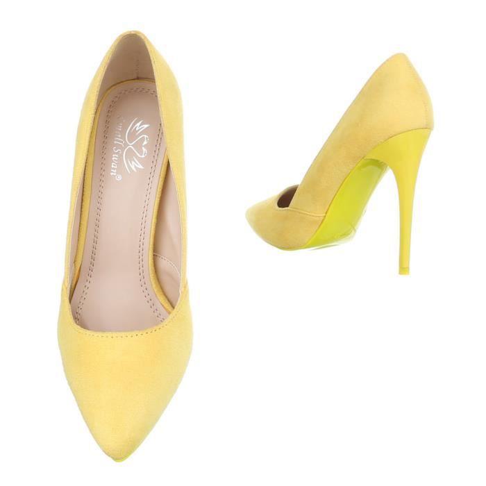 Femme chaussures escarpin High Heels jaune 40