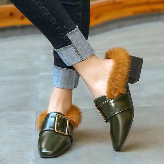 Femmes Woollen Chaussures Chaussons Chaussures haut à haut Chaussures talon Bottes bloc Chaussures qinhig5287  Armée verte - Achat / Vente botte 2def97