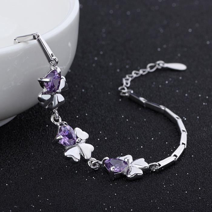 Bracelet trèfle coeur oxyde de zirconium argent 925 Couleur Violet