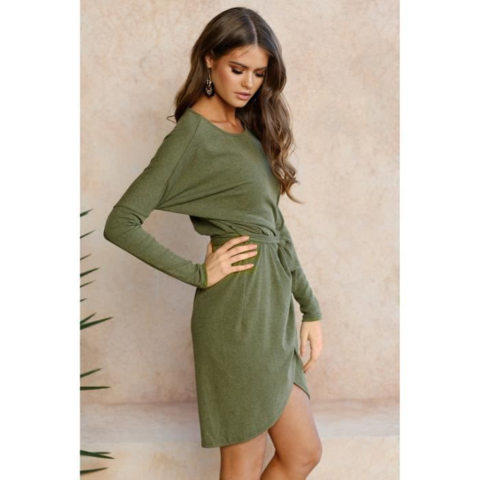 Womens Casual Long Sleeves Round Neck Irregular Dress Wih Belt 2Y85PF Taille-38