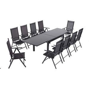 SALON DE JARDIN  10+1  Ensemble Table Fauteuils, Rétractable Table