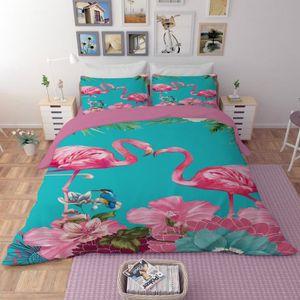 HOUSSE DE COUETTE SEULE Parure de lit la couple de flamant rose oiseau et