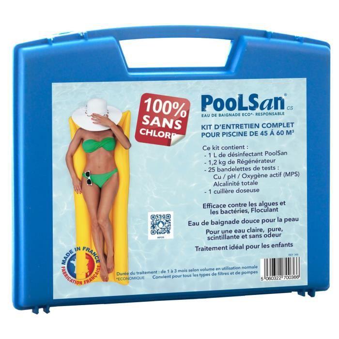 POOLSAN Kit complet de désinfection - 100% sans chlore - Pour piscines de 45 à 60 m³