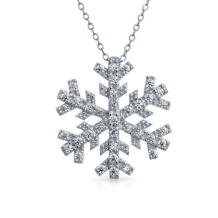 Bling Jewelry pendentif en argent CZ Pendentif Flocon 16in