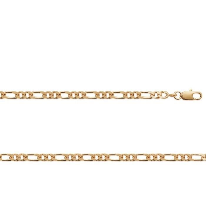 Chaine Plaqué Or maille figaro 1-2 largeur 3,8mm (50 cm)