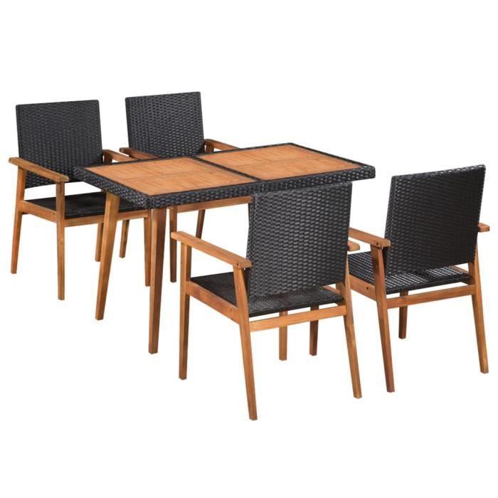 5 pcs Mobilier de jardin Résine tressée Noir et marron - 1 table 120 x 70 x  74 cm et 4 chaises 56 x 61 x 88 cm