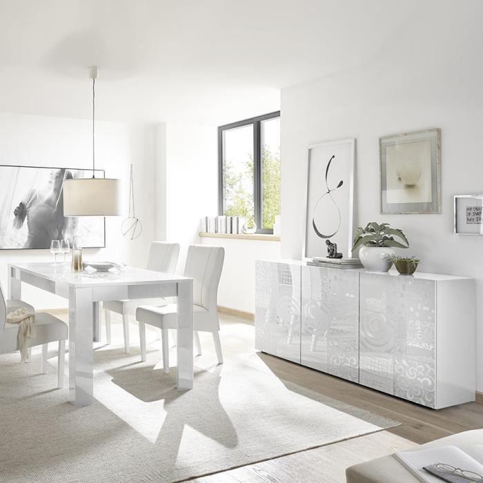 Salle à manger blanche laquée buffet 3 portes + table design ELMA ...