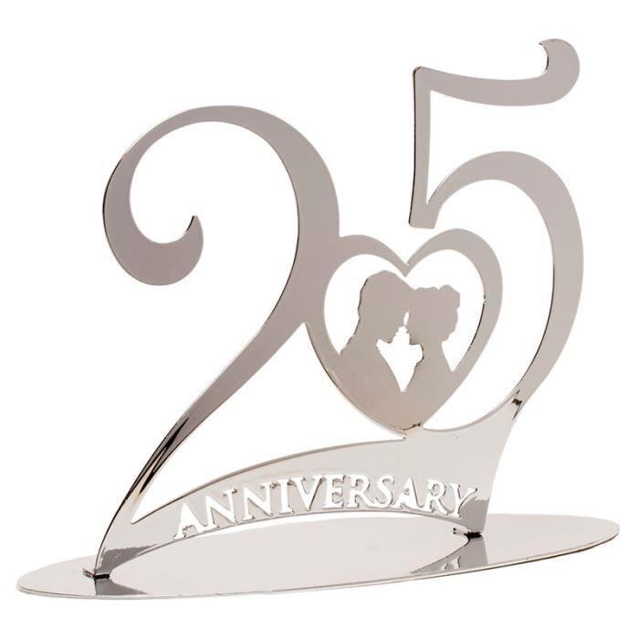 Décoration Gâteau Anniversaire De Mariage 25 Ans Plaque Métallique 20 X 15 X 8 Cm Noces Dargent Accessoire Fête Cake Topper