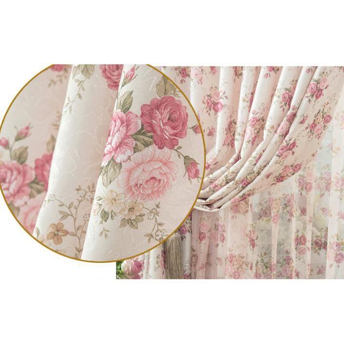 excellent rideau belles petites fleurs imprimes rideaux de la fen with rideau pour petite. Black Bedroom Furniture Sets. Home Design Ideas