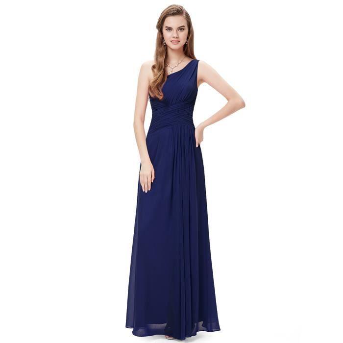 Robe bleu marine inclinée épaule fente en mousseline de soie Slim