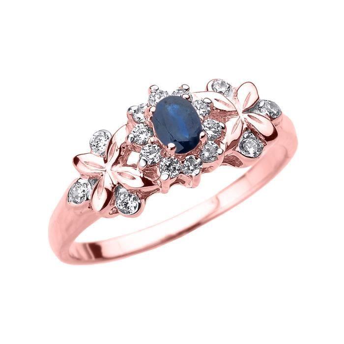 Bague Femme 10 Ct Or Rose Ovale Saphir Et Diamant