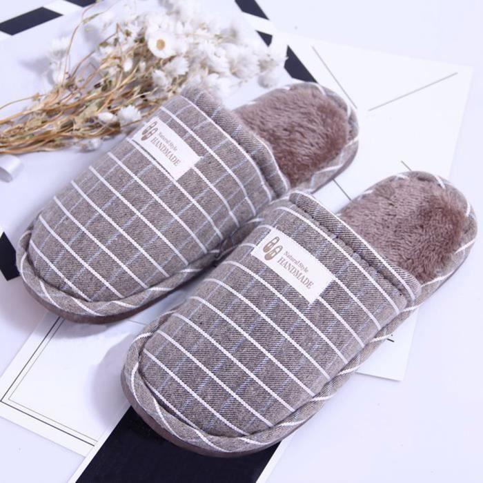 Napoulen®Chaussons d'hiver à l'intérieur à rayures chaudes anti-dérapantes GRIS-SJF71027733GY dHc4Ww