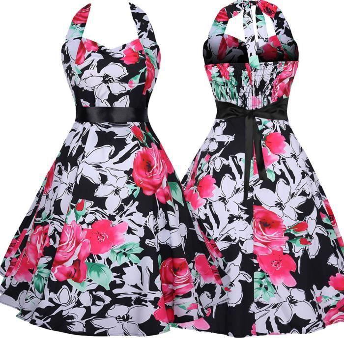 exquisgift®Mode Vintage floral Bodycon plaid sans manches robe de soirée pour femmes ROUGE~HCM71130178A