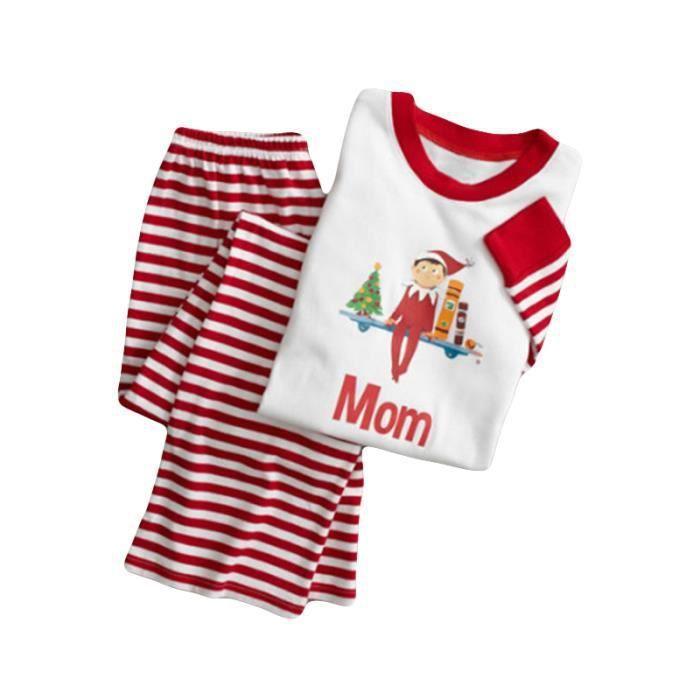 Pièces Femme Famille Sweat Rayures Pull 2 Ensemble Nuit Noël Assortis De Pour Chemise Shirt Pyjamas Vêtemen F1vppq