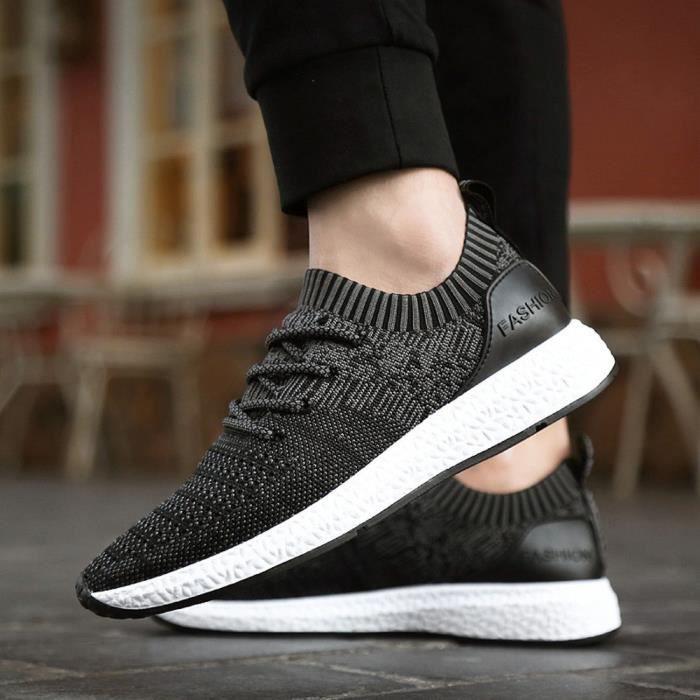 Casual Noir Spring Flats Shoes Chaussures Mode Lumière À Hommes Pour Respirante Lacets 5q7qP