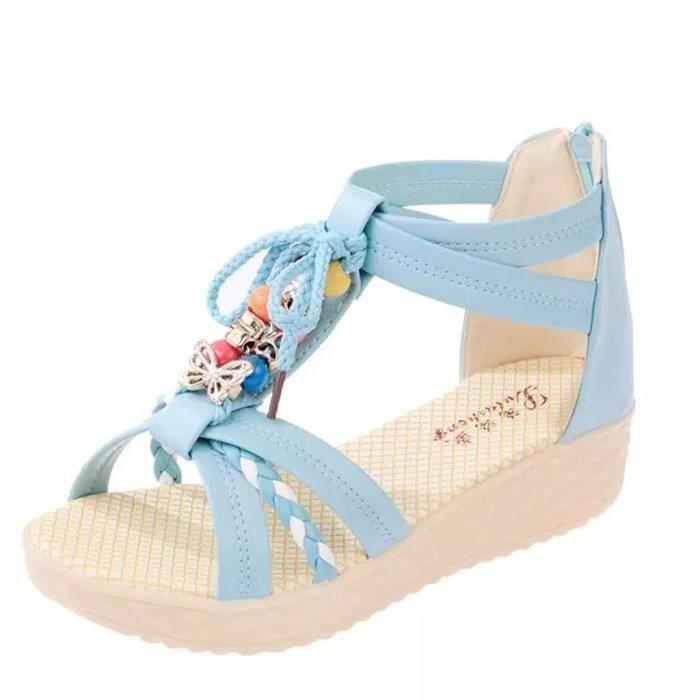 Pour Femmes Dames down13268 Plage Chaussures Zipper Perlée Bohème Sandales Antidérapantes axUxOSgw