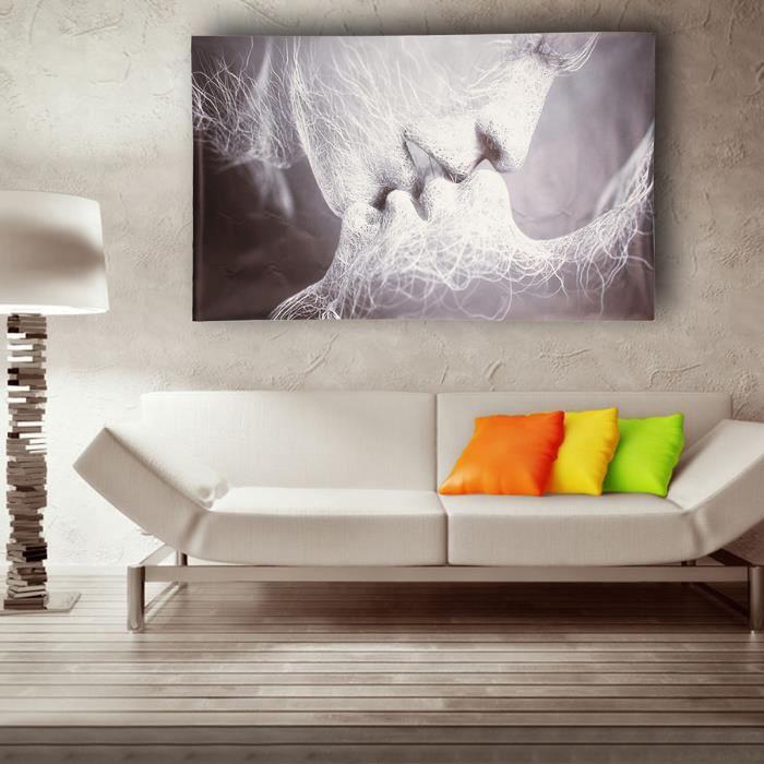 tableau peinture huile toile baiser d 39 amour noir blanc abstraite d cor murale 100 60cm achat. Black Bedroom Furniture Sets. Home Design Ideas